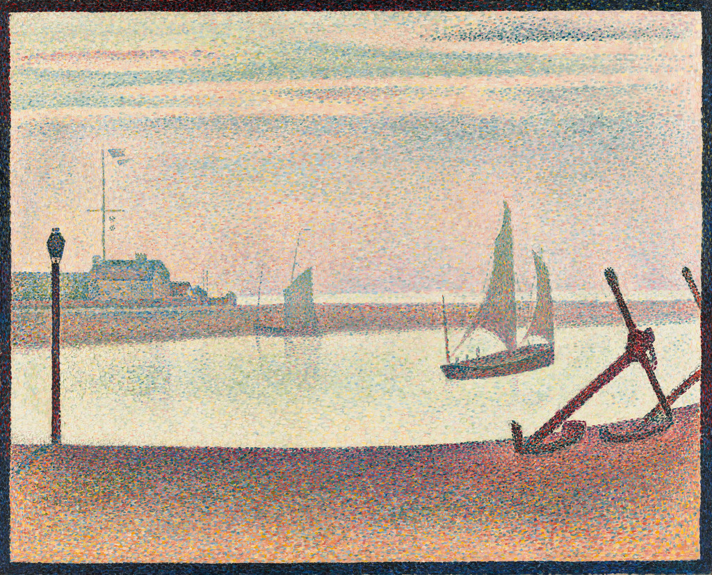 "Georges-Pierre Seurat. *The Channel at Gravelines, Evening, Marine avec des ancres*. 1890. Oil on canvas, 25 3/4 x 32 1/4"" (65.4 x 81.9 cm). Gift of Mr. and Mrs. William A. M. Burden"