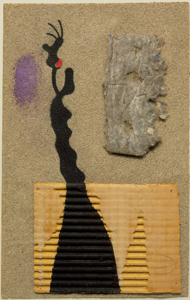 "Joan Miró. *Collage*. 1934. Corrugated cardboard, felt, gouache, and pencil on sandpaper, 14 1/2 x 9 1/4"" (36.9 x 23.6 cm). The Museum of Modern Art, New York. James Thrall Soby Bequest"