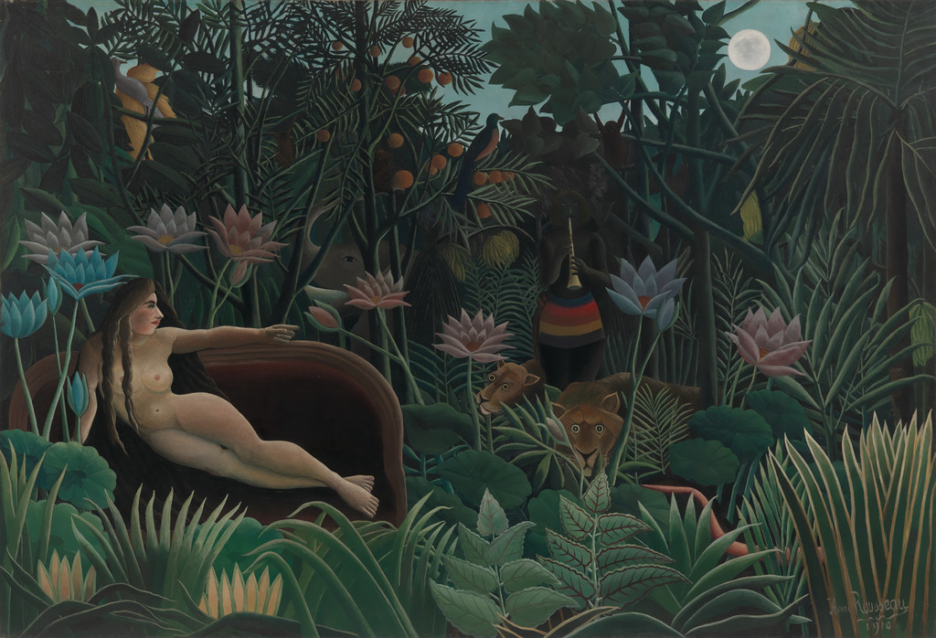 "Henri Rousseau. *The Dream*. 1910. Oil on canvas, 6' 8 1/2"" x 9' 9 1/2"" (204.5 x 298.5 cm). Gift of Nelson A. Rockefeller"