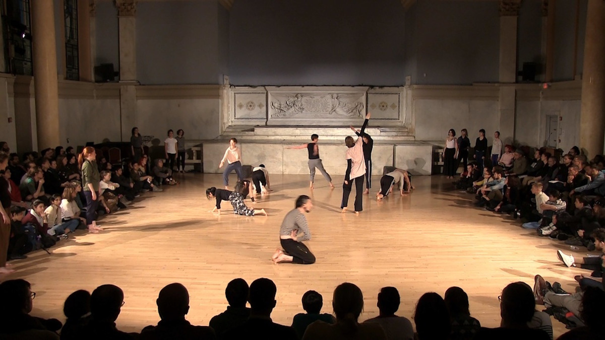 Performance view of Yoshiko Chuma + Jodi Melnick Workshop, Judson Memorial Church, January 22, 2018. Still image of video by Quentin Burley