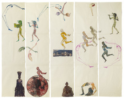 "Nancy Spero. The Goddess Nut II. 1990. Handprinting and printed collage on paper, five panels, 7' x 9' 2"" (213.4 x 279.4 cm) overall. © 2019 The Nancy Spero and Leon Golub Foundation for the Arts/Licensed by VAGA at ARS, NY, courtesy Galerie Lelong & Co. Photo: Michael Bodycomb"