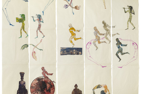 Nancy Spero. <em>The Goddess Nut II</em>. 1990. Handprinting and printed collage on paper, five panels, 7' x 9' 2&quot; (213.4 x 279.4 cm) overall. © 2019 The Nancy Spero and Leon Golub Foundation for the Arts/Licensed by VAGA at ARS, NY, courtesy Galerie Lelong &amp; Co. Photo: Michael Bodycomb