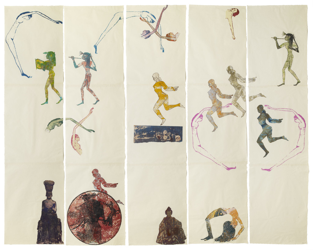 "Nancy Spero. *The Goddess Nut II*. 1990. Handprinting and printed collage on paper, five panels, 7' x 9' 2"" (213.4 x 279.4 cm) overall. © 2019 The Nancy Spero and Leon Golub Foundation for the Arts/Licensed by VAGA at ARS, NY, courtesy Galerie Lelong & Co. Photo: Michael Bodycomb"
