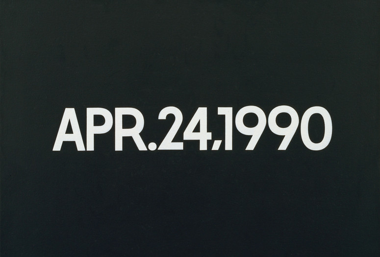 On Kawara. <em>APR. 24, 1990</em>. 1990. Acrylic on canvas, 18 1/4 x 24&quot; (46.3 x 61 cm). Gift of Werner and Elaine Dannheisser. © 2019 On Kawara