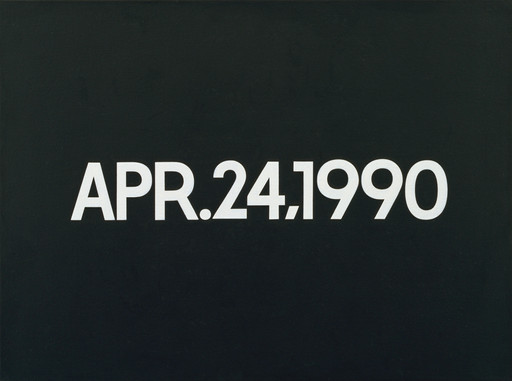 "On Kawara. APR. 24, 1990. 1990. Acrylic on canvas, 18 1⁄4 x 24"" (46.3 x 61 cm). Gift of Werner and Elaine Dannheisser. © 2019 On Kawara"