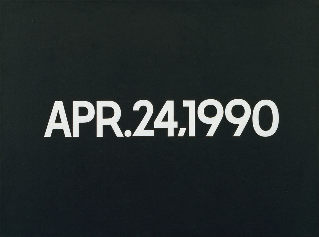 "On Kawara. *APR. 24, 1990*. 1990. Acrylic on canvas, 18 1/4 x 24"" (46.3 x 61 cm). Gift of Werner and Elaine Dannheisser. © 2019 On Kawara"