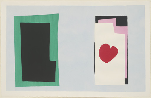 "Henri Matisse. The Heart (Le Coeur) from Jazz. 1947. One from a portfolio of 20 pochoirs, composition (irreg.): 14 13⁄16 × 24"" (37.7 × 61 cm); sheet: 16 9⁄16 × 25 11⁄16"" (42.1 × 65.3 cm). Gift of the artist. © 2019 Succession H. Matisse/Artists Rights Society (ARS), New York"