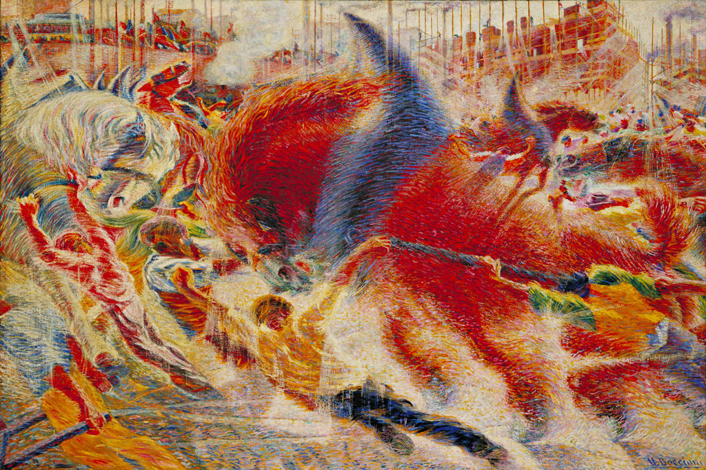 "Umberto Boccioni. *The City Rises*. 1910. Oil on canvas, 6' 6 1/2"" x 9' 10 1/2"" (199.3 x 301 cm). Mrs. Simon Guggenheim Fund"