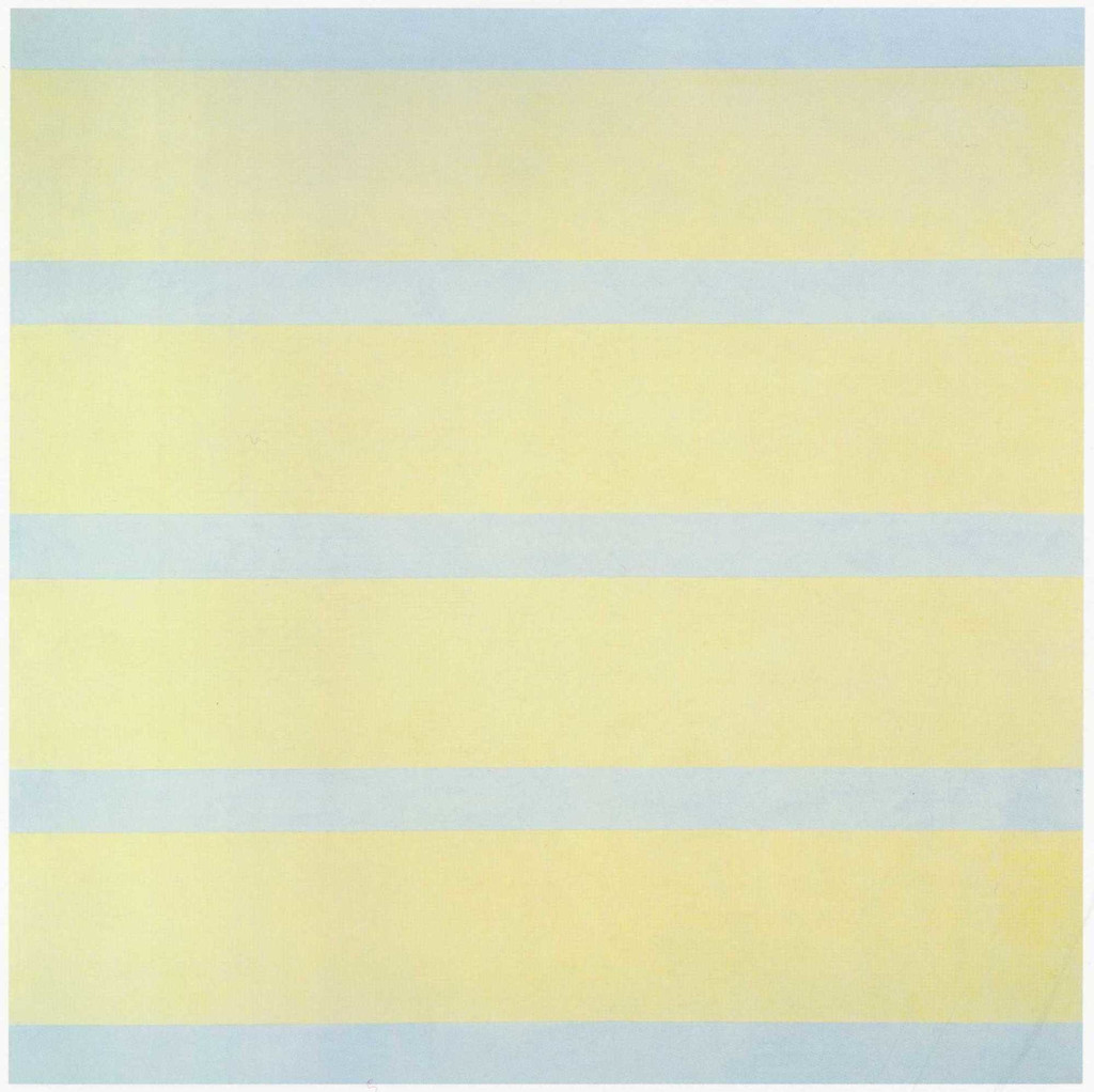 "Agnes Martin. *With My Back to the World*. 1997. Synthetic polymer paint on canvas, six panels, each 60 x 60"" (152.5 x 152.5 cm). Fractional and promised gift of the Ovitz Family Collection. © 2019 Estate of Agnes Martin/Artists Rights Society (ARS), New York"