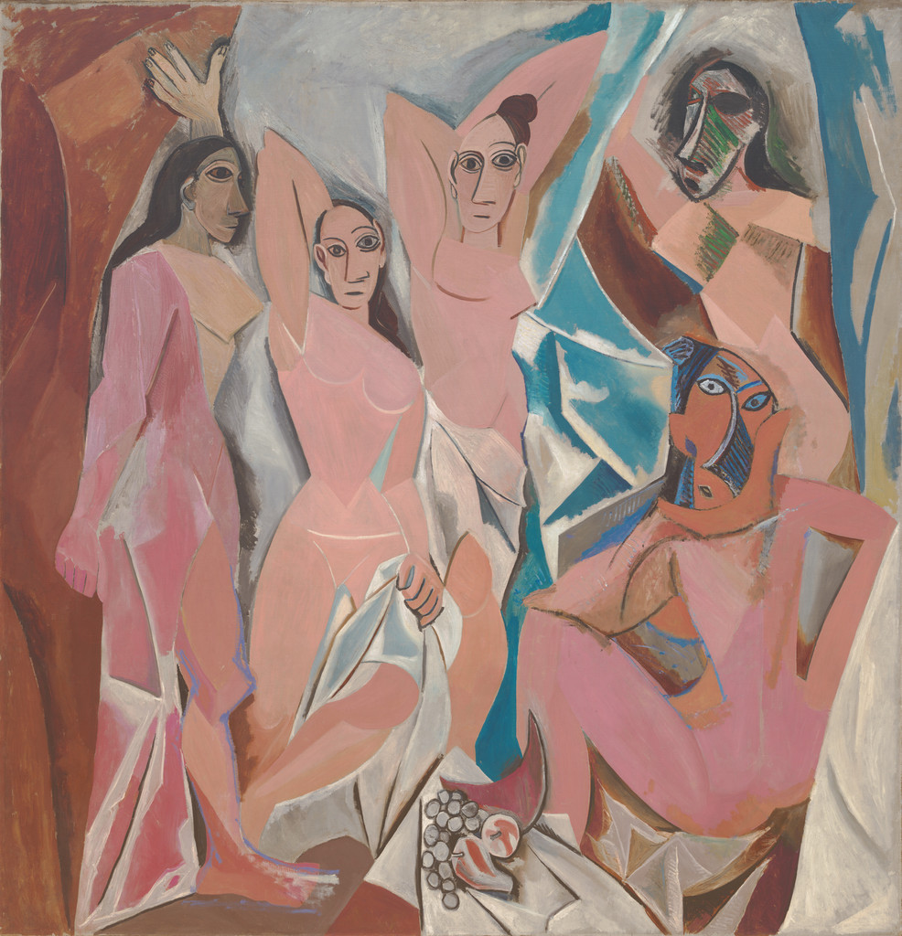 "Pablo Picasso. *Les Demoiselles d'Avignon*. 1907. Oil on canvas, 8' x 7' 8"" (243.9 x 233.7 cm). Acquired through the Lillie P. Bliss Bequest (by exchange). © 2018 Estate of Pablo Picasso / Artists Rights Society (ARS), New York"