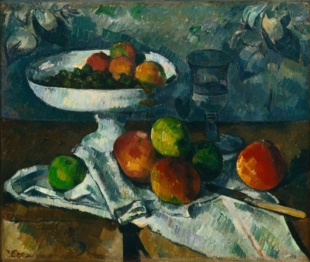 "Paul Cezanne. *Still Life with Fruit Dish*. 1879–80. Oil on canvas, 18 1/4 x 21 1/2"" (46.4 x 54.6 cm). Gift of Mr. and Mrs. David Rockefeller"