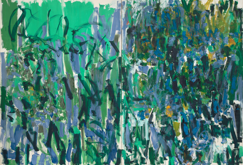 Joan Mitchell. <em>No Rain</em>. 1976. Oil on canvas, two panels, 9' 2&quot; x 13' 1 /58&quot; (279.5 x 400.4 cm). Gift of The Estate of Joan Mitchell