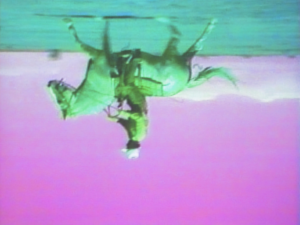 Still from Bruce Nauman. *Green Horses*. 1988. Video installation (color, 59:40 min.) with two color video monitors, two DVD players, video projector, and chair, dimensions variable. Purchased jointly by the Albright-Knox Art Gallery, with funds from the Bequest of Arthur B. Michael, by exchange; and the Whitney Museum of American Art, New York, with funds from the Director's Discretionary Fund and the Painting and Sculpture Committee, 2007. © 2018 Bruce Nauman/Artists Rights Society (ARS), New York. Photo: Ron Amstutz