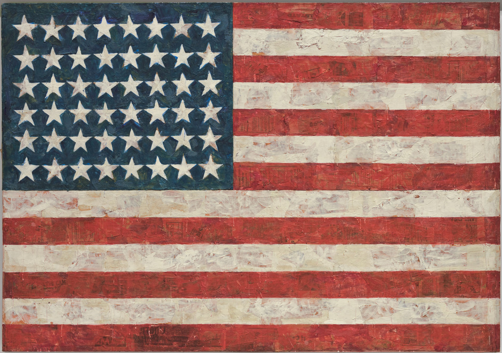 "Jasper Johns. *Flag.* 1954–55. Encaustic, oil, and collage on fabric mounted on plywood, three panels, 42 1/4 x 60 5/8"" (107.3 x 153.8 cm). Gift of Philip Johnson in honor of Alfred H. Barr, Jr. © 2019 Jasper Johns/Licensed by VAGA, New York, NY"