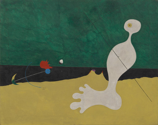 "Joan Miró. Person Throwing a Stone at a Bird. 1926. Oil on canvas, 29 x 36 1⁄4"" (73.7 x 92.1 cm). Purchase. ©2019 Successió Miró/Artists Rights Society (ARS), New York/ADAGP, Paris"