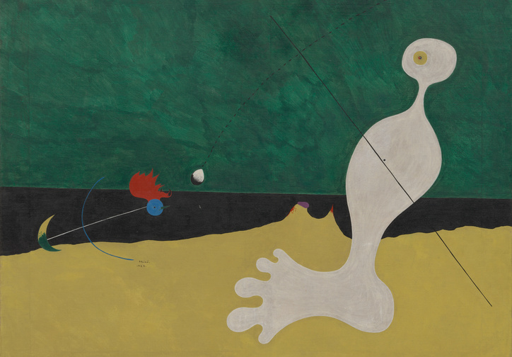 "Joan Miró. Person Throwing a Stone at a Bird. 1926. Oil on canvas, 29 x 36 1/4"" (73.7 x 92.1 cm). Purchase. ©2019 Successió Miró/Artists Rights Society (ARS), New York/ADAGP, Paris"