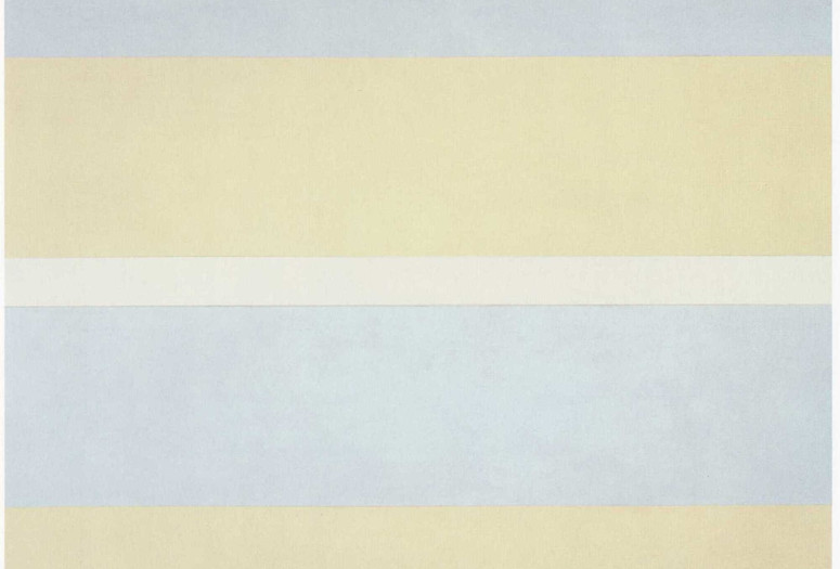 "Agnes Martin. With My Back to the World. 1997. Synthetic polymer paint on canvas, six panels, each 60 x 60"" (152.5 x 152.5 cm). Fractional and promised gift of the Ovitz Family Collection. © 2019 Estate of Agnes Martin / Artists Rights Society (ARS), New York"