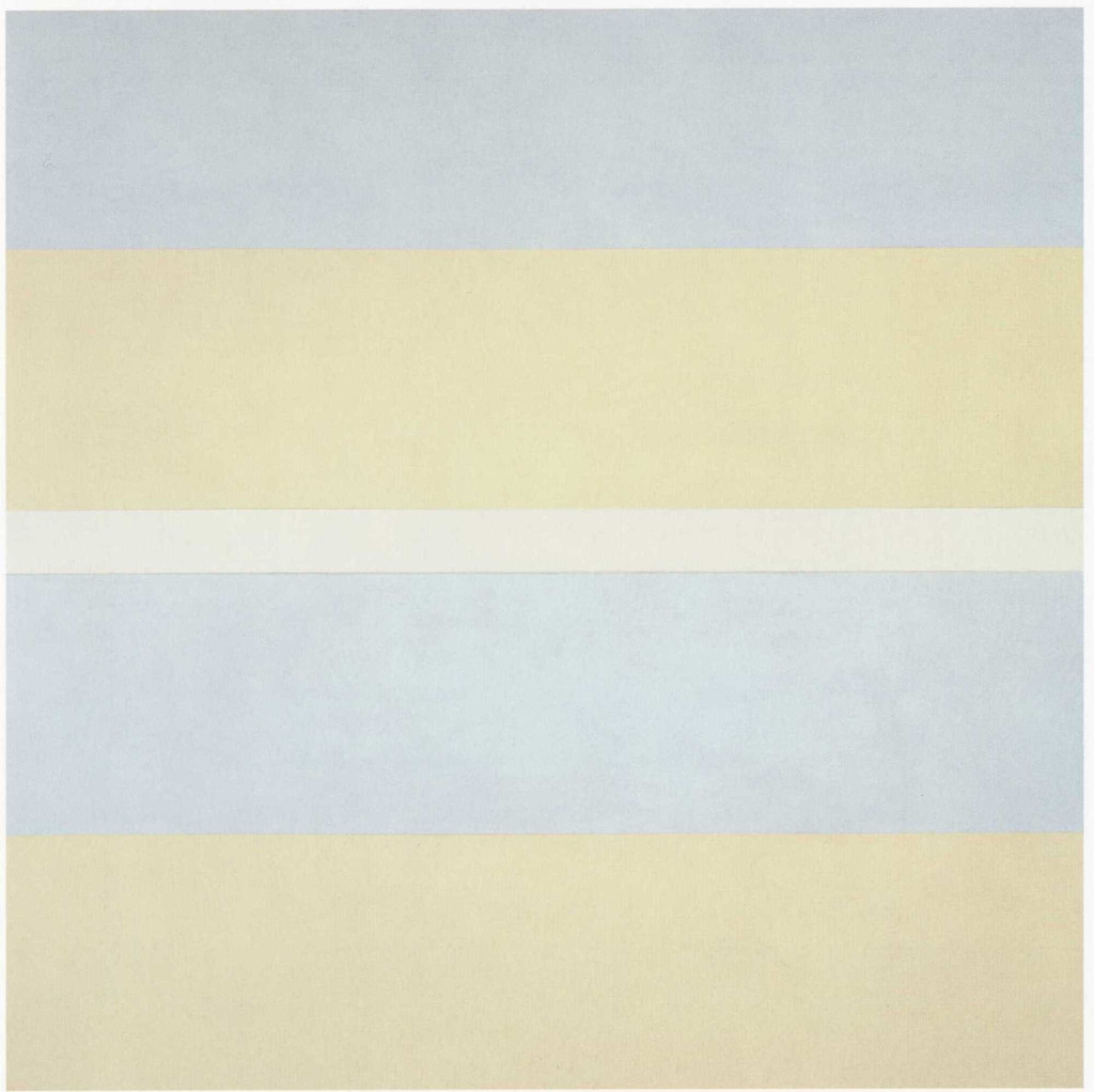 "Agnes Martin. *With My Back to the World*. 1997. Synthetic polymer paint on canvas, six panels, each 60 x 60"" (152.5 x 152.5 cm). Fractional and promised gift of the Ovitz Family Collection. © 2019 Estate of Agnes Martin / Artists Rights Society (ARS), New York"