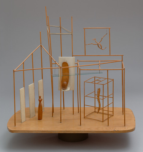 "Alberto Giacometti. The Palace at 4 a.m. 1932. Wood, glass, wire, and string, 25 x 28 1⁄4 x 15 3⁄4"" (63.5 x 71.8 x 40 cm). Purchase. © 2019 Artists Rights Society (ARS), New York/ADAGP, Paris"