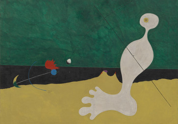 "Joan Miró. Person Throwing a Stone at a Bird. 1926. Oil on canvas, 29 x 36 ¼"" (73.7 x 92.1 cm). Purchase. ©2019 Successió Miró/Artists Rights Society (ARS), New York/ADAGP, Paris"
