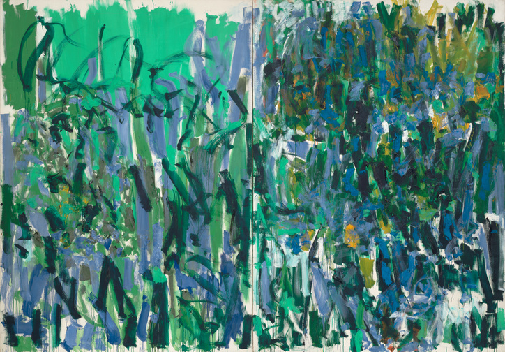 "Joan Mitchell. No Rain. 1976. Oil on canvas, two panels, 9' 2"" x 13' 1 /58"" (279.5 x 400.4 cm). Gift of The Estate of Joan Mitchell"