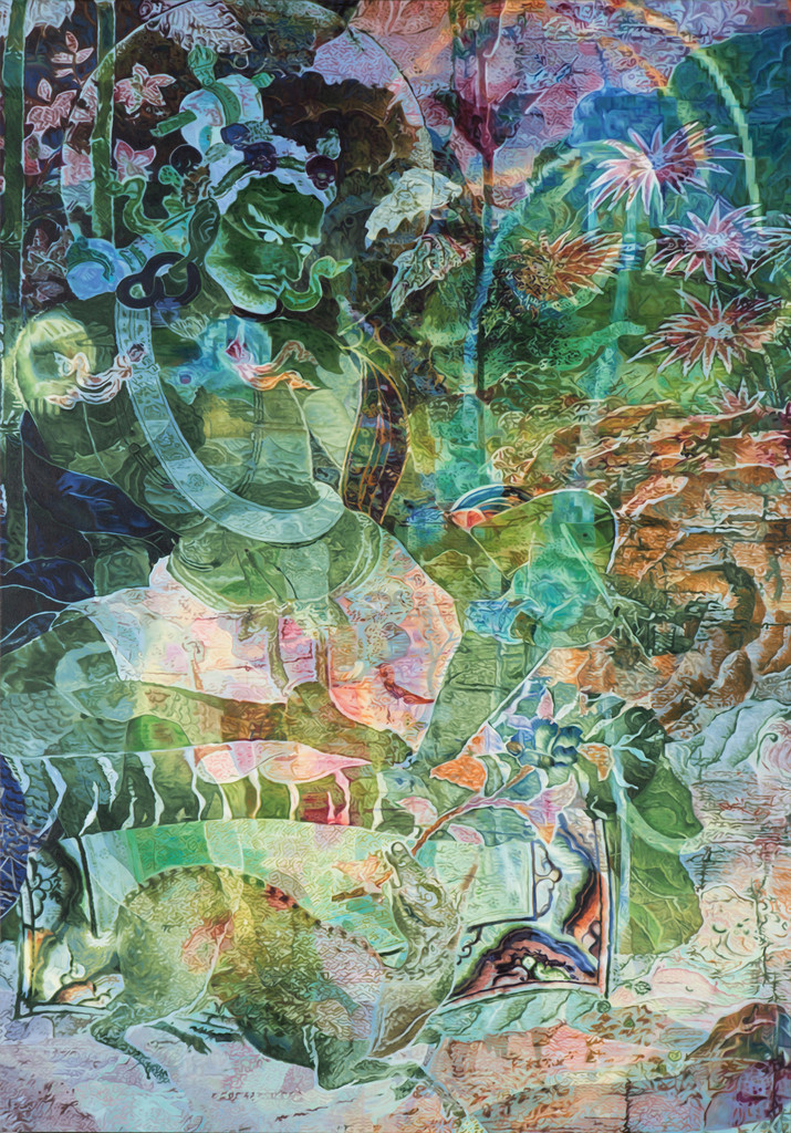 "Zheng Guogu. *Visionary Transformation of Achievement II*. 2016. Oil on canvas, 81 1/2 × 56 7/8"" (207 × 144.5 cm). Image courtesy the artist"