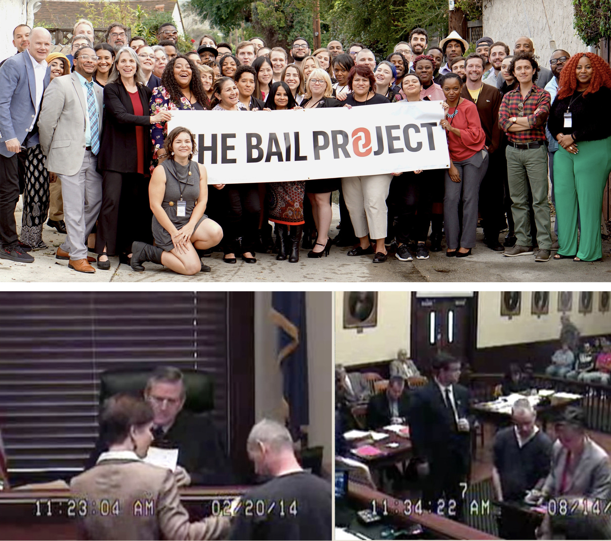 Photo Courtesy of The Bail Project; Screengrabs from video show David Jones alongside his public defender, Valetta Browne, in three of his eleven appearances before the Clark County Court in Kentucky. CLARK COUNTY COURT.