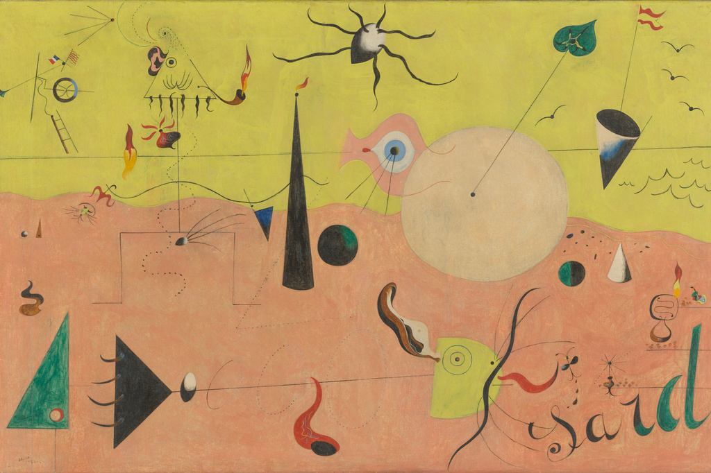 "Joan Miró. The Hunter (Catalan Landscape). 1923–24. Oil on canvas, 25 1/2 x 39 1/2"" (64.8 x 100.3 cm). Purchase. © 2019 Successió Miró/Artists Rights Society (ARS), New York/ADAGP, Paris"