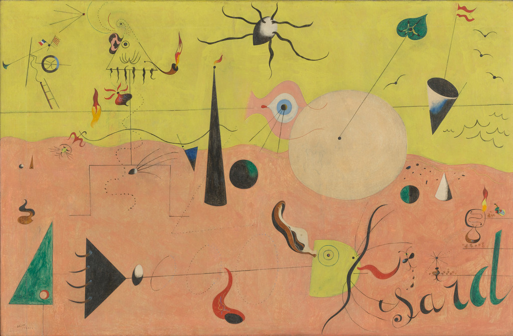 "Joan Miró. *The Hunter (Catalan Landscape)*. 1923–24. Oil on canvas, 25 1/2 x 39 1/2"" (64.8 x 100.3 cm). Purchase. © 2019 Successió Miró/Artists Rights Society (ARS), New York/ADAGP, Paris"