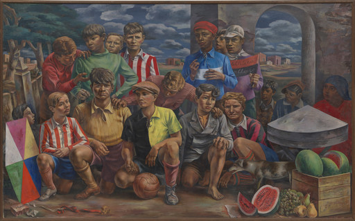 "Antonio Berni. New Chicago Athletic Club (Club atlético Nueva Chicago). 1937. Oil on canvas, 6' 3⁄4"" × 9' 10 1⁄4"" (184.8 × 300.4 cm). The Museum of Modern Art, New York. Inter-American Fund. © 2019 Fundación Antonio Berni and Luis Emilio De Rosa, Argentina"
