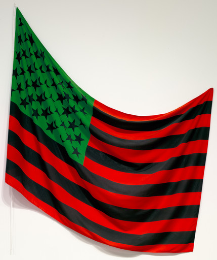 "David Hammons. African-American Flag. 1990. Fabric, 56"" x 7' 4"" (142.2 x 223.5 cm). Gift of The Over Holland Foundation. © 2019 David Hammons"