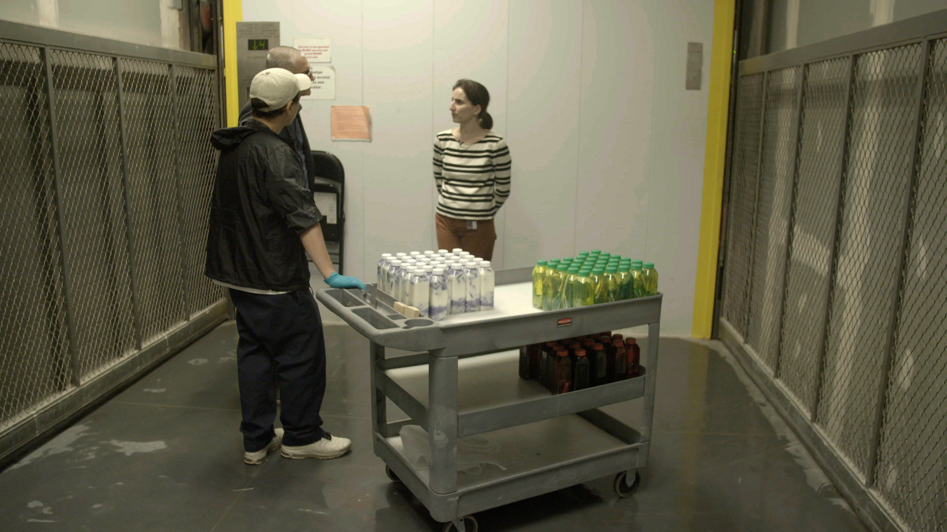 Because proper ventilation and documentation equipment were needed, the drinks were made in the Museum's conservation lab, then shuttled to the gallery in the freight elevator.