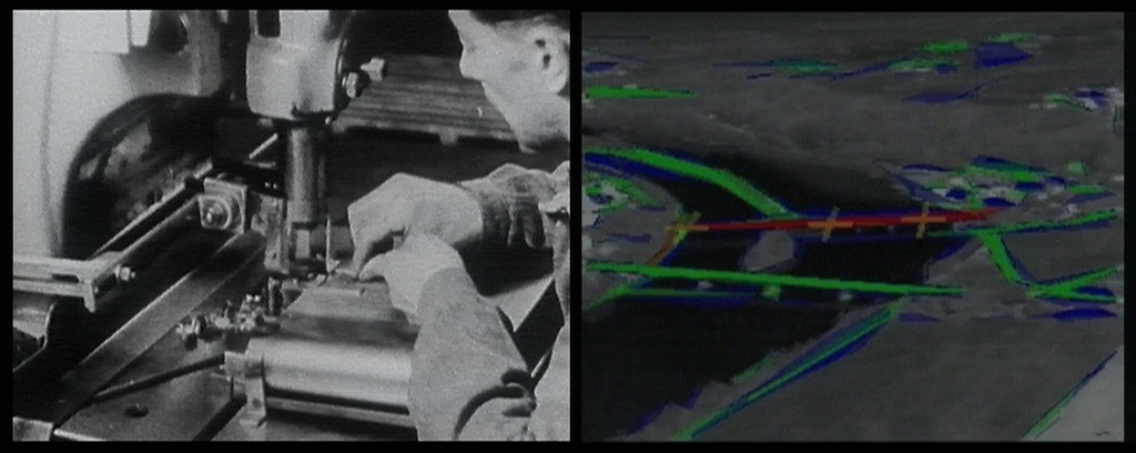 Harun Farocki. *Eye/Machine I, Auge/Maschine I.* 2001. Two-channel video installation re-edited to single-channel video (color, sound), 23 min. Committee on Film Funds. © 2019 Harun Farocki Filmproduktion