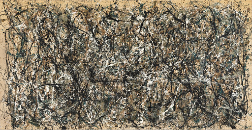 "Jackson Pollock. One: Number 31, 1950. 1950. Oil and enamel paint on canvas, 8' 10"" x 17' 5 5⁄8"" (269.5 x 530.8 cm). Sidney and Harriet Janis Collection Fund (by exchange). Conservation was made possible by the Bank of America Art Conservation Project. © 2019 Pollock-Krasner Foundation/Artists Rights Society (ARS), New York"