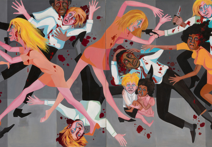"Faith Ringgold. American People Series #20: Die. 1967. Oil on canvas, two panels, 72 x 144"" (182.9 × 365.8 cm). Purchase; and gift of The Modern Women's Fund"