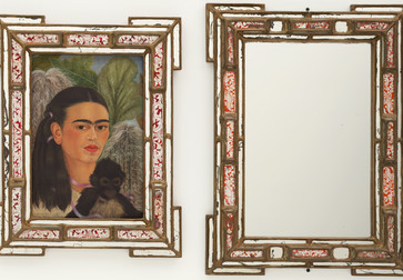 "Frida Kahlo. Fulang-Chang and I. 1937 (assembled after 1939). In two parts, oil on composition board (1937) with painted mirror frame (added after 1939); and mirror with painted mirror frame (after 1939), framed painting, left 22 ¼ x 17 3/8 x 1 ¾"" (56.5 x 44.1 x 4.4 cm); framed mirror, right 25 ¼ x 19 x 1 ¾"" (64.1 x 48.3 x 4.4 cm). Mary Sklar Bequest. © 2019 Banco de México Diego Rivera Frida Kahlo Museums Trust, Mexico, D.F. / Artists Rights Society (ARS), New York"