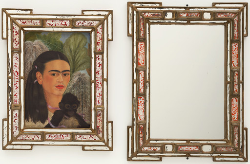 "Frida Kahlo. Fulang-Chang and I. 1937 (assembled after 1939). In two parts, oil on composition board (1937) with painted mirror frame (added after 1939); and mirror with painted mirror frame (after 1939), framed painting, left 22 1⁄4 x 17 3⁄8 x 1 3⁄4"" (56.5 x 44.1 x 4.4 cm); framed mirror, right 25 1⁄4 x 19 x 1 3⁄4"" (64.1 x 48.3 x 4.4 cm). Mary Sklar Bequest. © 2019 Banco de México Diego Rivera Frida Kahlo Museums Trust, Mexico, D.F. / Artists Rights Society (ARS), New York"