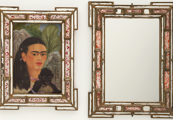 "Frida Kahlo. Fulang-Chang and I. 1937 (assembled after 1939). In two parts, oil on composition board (1937) with painted mirror frame (added after 1939); and mirror with painted mirror frame (after 1939), framed painting, left 22 1/4 x 17 3/8 x 1 3/4"" (56.5 x 44.1 x 4.4 cm); framed mirror, right 25 1/4 x 19 x 1 3/4"" (64.1 x 48.3 x 4.4 cm). Mary Sklar Bequest. © 2019 Banco de México Diego Rivera Frida Kahlo Museums Trust, Mexico, D.F. / Artists Rights Society (ARS), New York"