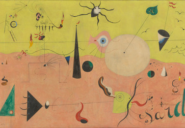 "Joan Miró. The Hunter (Catalan Landscape). 1923–24. Oil on canvas, 25 ½ x 39 ½"" (64.8 x 100.3 cm). Purchase. © 2019 Successió Miró/Artists Rights Society (ARS), New York/ADAGP, Paris"