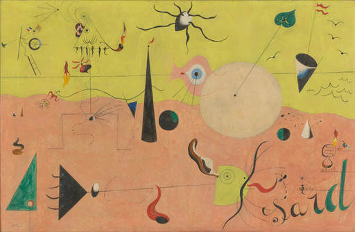 "Joan Miró. The Hunter (Catalan Landscape). 1923–24. Oil on canvas, 25 1⁄2 x 39 1⁄2"" (64.8 x 100.3 cm). Purchase. © 2019 Successió Miró/Artists Rights Society (ARS), New York/ADAGP, Paris"