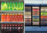 "Josh Kline. Skittles. 2014. Commercial refrigerator, light box and blended liquids in bottles, 86 1/2 x 127 1/2 x 41"" (219.7 x 323.9 x 104.1 cm). Fund for the Twenty-First Century"