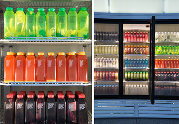 "Josh Kline. Skittles. 2014. Commercial refrigerator, light box and blended liquids in bottles, 86 ½ x 127 ½ x 41"" (219.7 x 323.9 x 104.1 cm). Fund for the Twenty-First Century"
