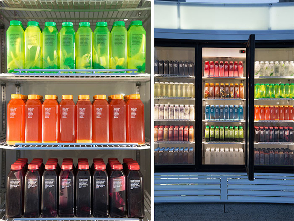 "Josh Kline. *Skittles*. 2014. Commercial refrigerator, light box and blended liquids in bottles, 86 1/2 x 127 1/2 x 41"" (219.7 x 323.9 x 104.1 cm). Fund for the Twenty-First Century"