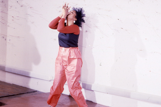 Senga Nengudi performing Air Propo at Just Above Midtown, 1981. Courtesy Senga Nengudi and Lévy Gorvy