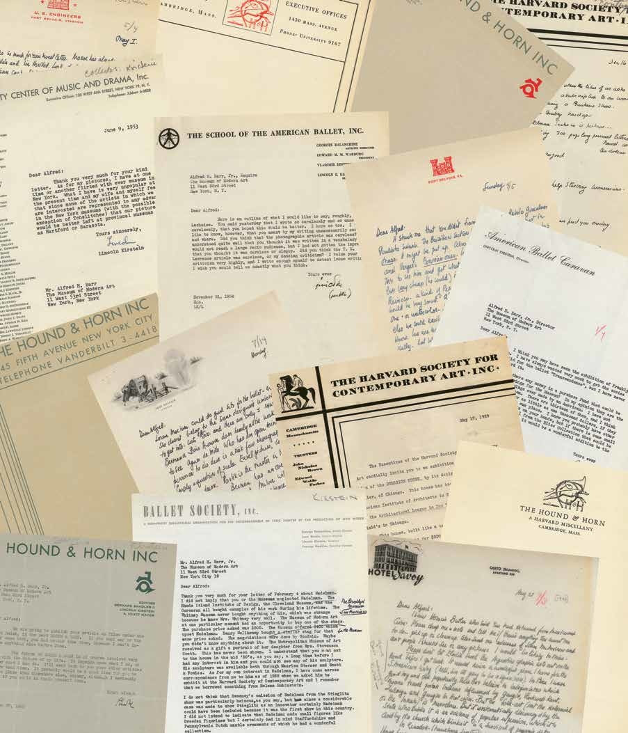 Collage of letterheads, designed by Inventory Form & Content (IN-FO.CO) as the endpaper to the exhibition catalogue for Lincoln Kirstein's Modern