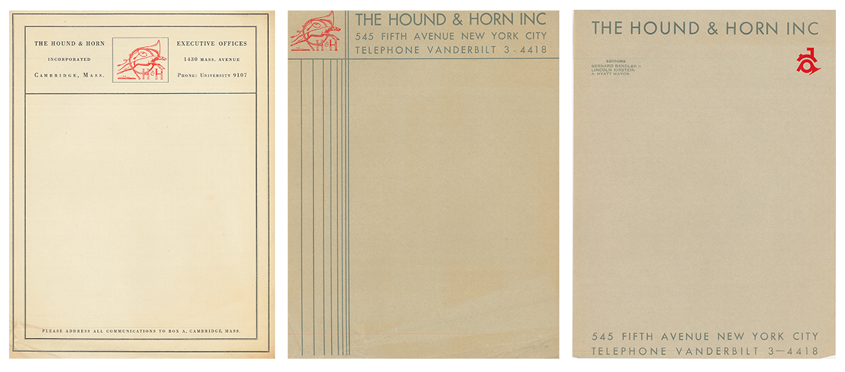 Three generations of Hound & Horn letterhead. The Hound & Horn Scrapbook. The Museum of Modern Art Archives, New York