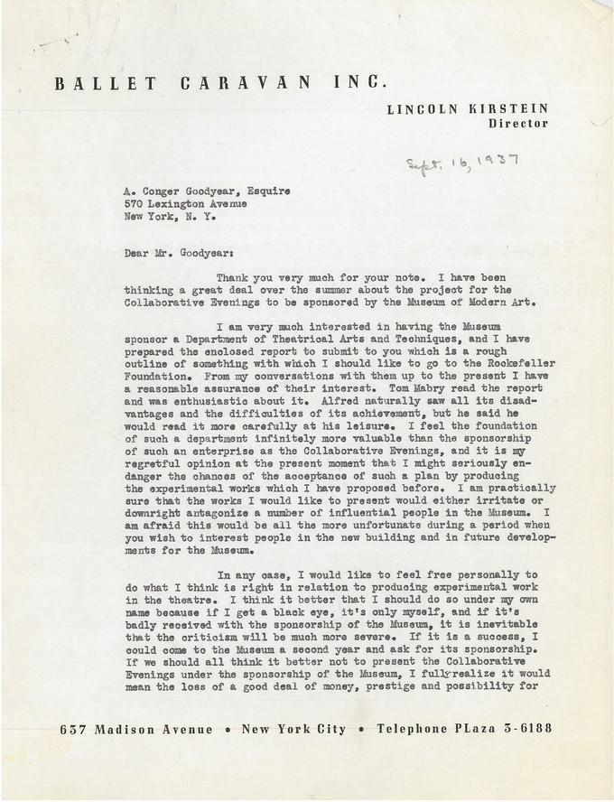 Page one of a two-page cover letter from Lincoln Kirstein to A. Conger Goodyear for an outline of a proposed Department of Theatrical Arts and Techniques, September 16, 1937. Alfred H. Barr Jr. Papers, I.A.29. The Museum of Modern Art Archives, New York