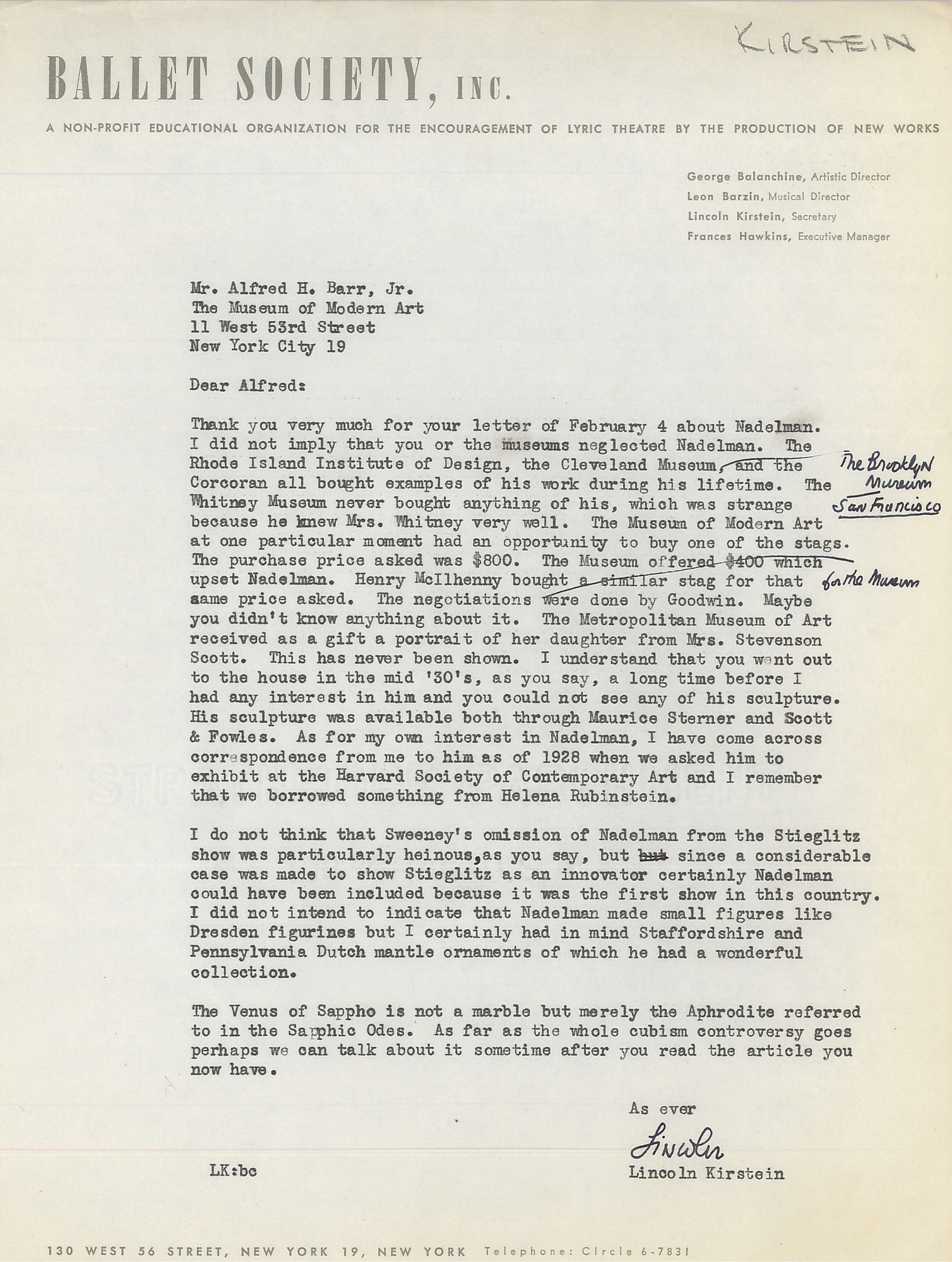 "Letter from Lincoln Kirstein to Alfred H. Barr Jr. explaining that he did not mean to imply that Barr or MoMA had ""neglected Nadelman,"" c. February 1948. Alfred H. Barr Jr. Papers, I.A.102. The Museum of Modern Art Archives, New York"