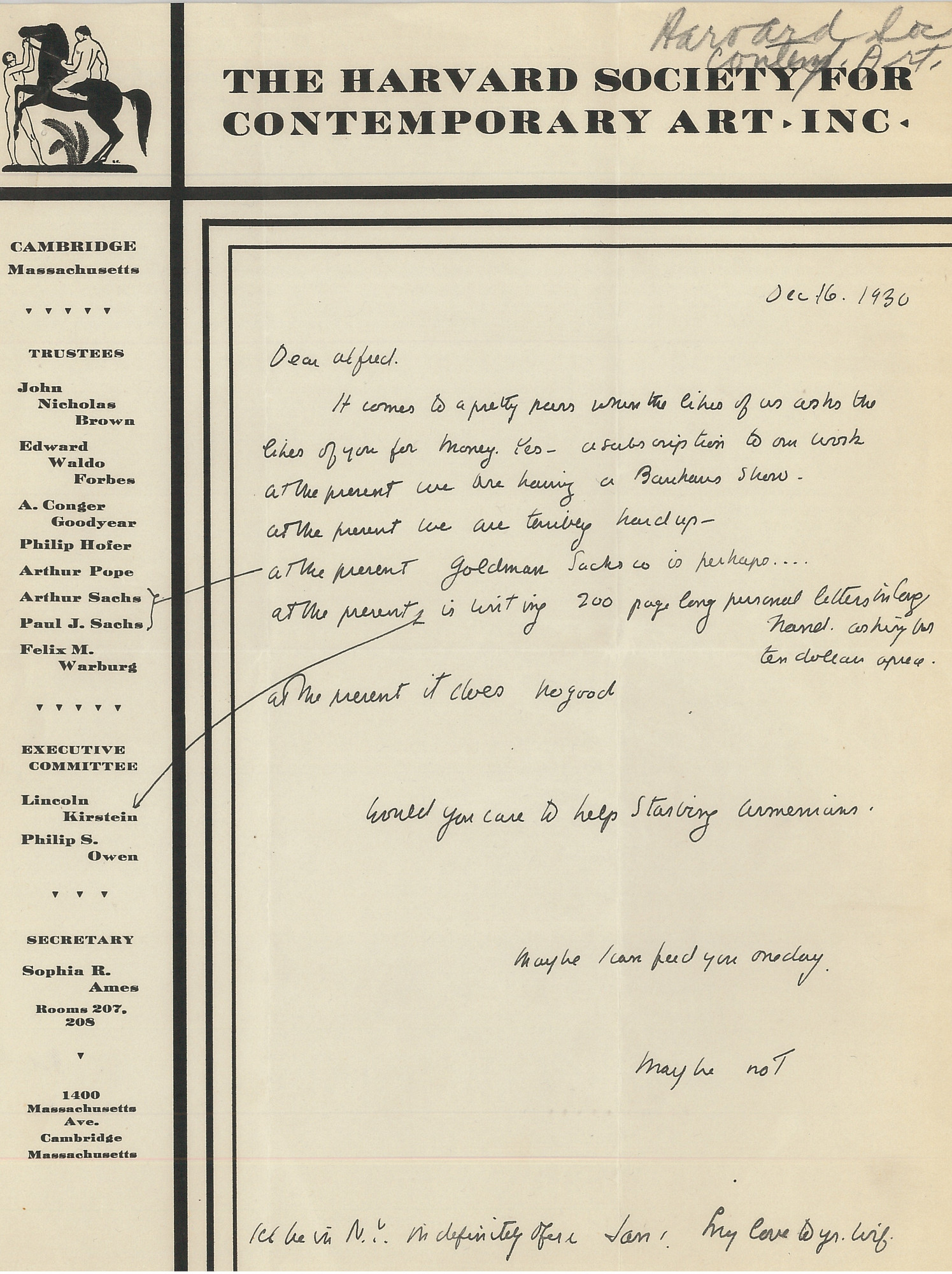 Letter from Lincoln Kirstein to Alfred H. Barr Jr. requesting funding for The Harvard Society for Contemporary Art, Inc., December 16, 1930. Alfred H. Barr Jr. Papers, I.A.3. The Museum of Modern Art Archives, New York