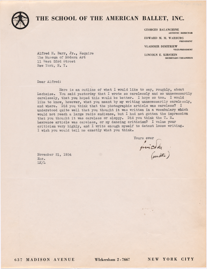 Cover letter from Lincoln Kirstein to Alfred H. Barr Jr. for Kirstein's outline on remarks on Gaston Lachaise, November 21, 1934. The Museum of Modern Art Exhibition Records, 38.3. The Museum of Modern Art Archives, New York